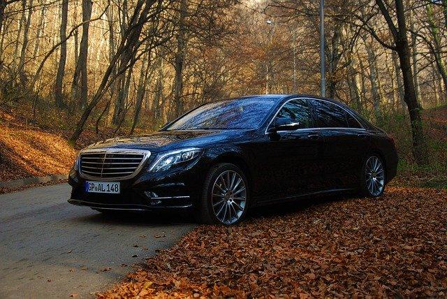 Čierne auto na lesnej ceste medzi napadaným lístím zo stromov.jpg